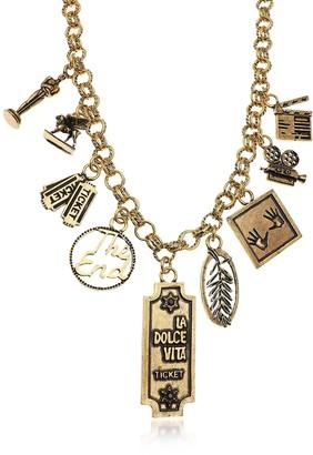 Alcozer & J Golden Brass Cinema Charms Necklace