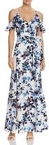 Eliza J Cold-Shoulder Flutter Sleeve Floral Maxi Dress