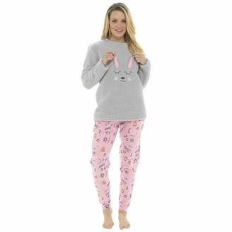 Socks Uwear Ladies Bunny Design Coral Fleece Top Twosie Style Sleepwear - Grey-Pink - 16-18