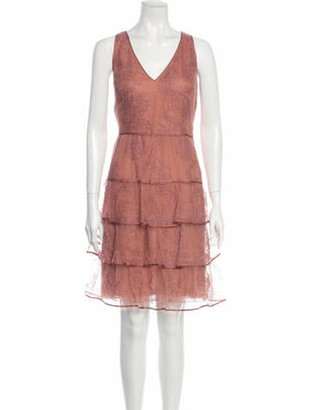 Valentino Lace Knee-Length Dress Pink