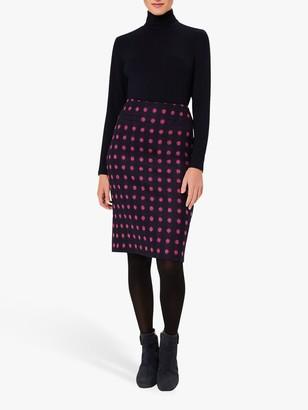 Hobbs Valerie Spot Wool Skirt, Navy/Pink