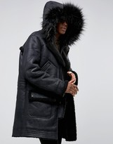 Asos Faux Shearling Parka with Hood in Black