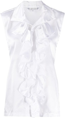 Comme des Garcons Tie-Back Sleeveless Ruffled Blouse