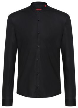 HUGO Relaxed-fit shirt in stretch cotton with stand collar