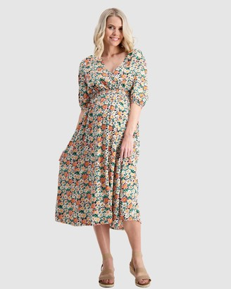 Maive & Bo - Women's Midi Dresses - Sunday Maternity & Nursing Dress - Size One Size, S at The Iconic