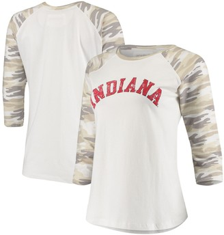 Women's White/Camo Indiana Hoosiers Boyfriend Baseball Raglan 3/4 Sleeve T-Shirt