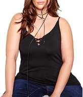BYM Women's Plus Size Sexy Halter V Neck Vest Sleeveless T Shirt Tops Tee