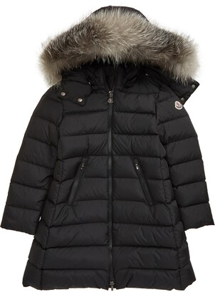 Moncler Kids' Abelle Water Resistant Down Puffer Coat with Genuine Fox Fur Trim