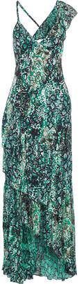 Alice + Olivia Shanel Asymmetric Ruffled Snake-print Burnout Crepe De Chine Maxi Dress