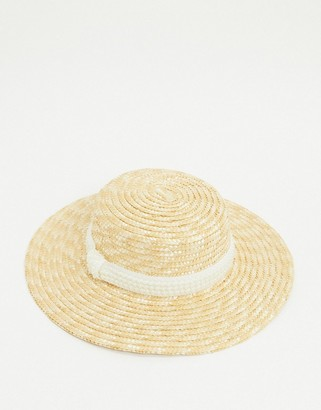 ASOS DESIGN natural straw boater with pearl band and size adjuster