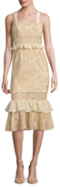 Jay Godfrey Lace Flounce Midi Dress