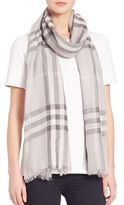 Burberry Giant Check Wool & Silk Gauze Scarf