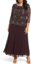 Pisarro Nights Plus Size Women's Mock Two-Piece Beaded Gown