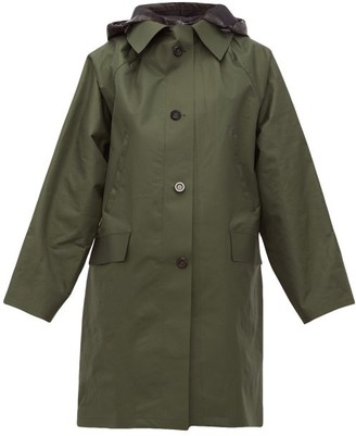 Kassl Editions Hooded Single-breasted Raincoat - Green