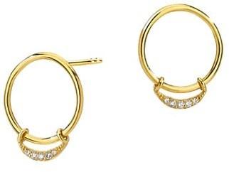 Celara 14K Yellow Gold Crescent Hoop Earrings