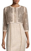Kay Unger New York 3/4-Sleeve Sequined Cropped Jacket W/ Tweed Trim