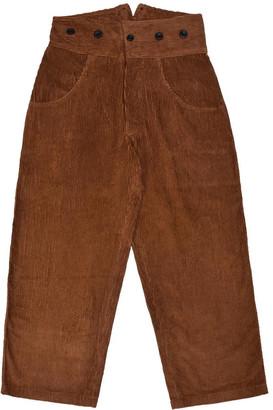 Lanefortyfive Pantaloni4 Women's Trousers With Braces - Brown Corduroy
