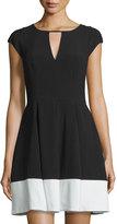 Halston Cap-Sleeve Colorblock Dress, Black/Eggshell