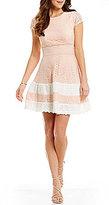 Teeze Me Cap-Sleeve Striped Skirt Lace Skater Dress