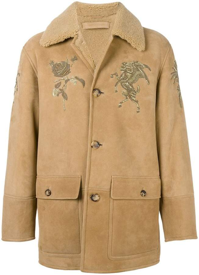 Alexander McQueen embroidered shearling coat