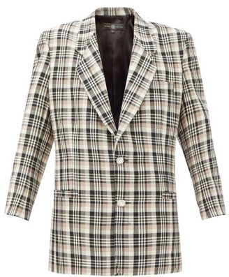 Edward Crutchley Single-breasted Checked Wool Jacket - Brown Multi