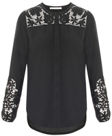 Veronica Beard Alma Embroidered Sleeve Blouse