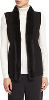 Magaschoni Rabbit Fur-Trimmed Ribbed Sweater Vest, Black