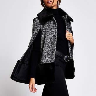 River Island Black printed faux fur trim cape