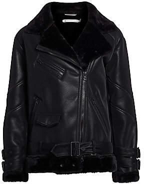 Blanc Noir Women's Violetta Faux Shearling Moto Jacket