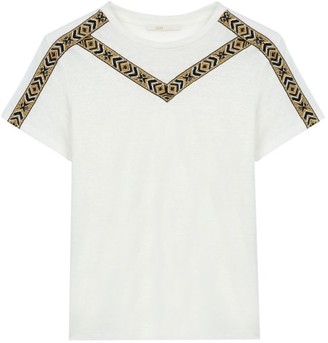 Maje Toblo Embroidered Linen T-Shirt