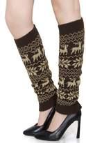 Unique Bargains Womens Elastic Knit Toeless Long Socks Calf Warmer Snowflake Pattern