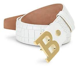Bally Men's B Buckle Croc-Embossed Leather Belt