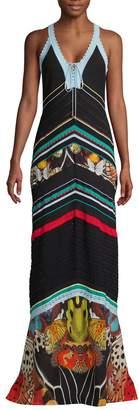 Roberto Cavalli Butterfly-Print Silk-Blend Maxi Dress