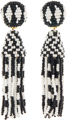 Oscar de la Renta Short Beaded Tassel Clip Earrings, Black/White