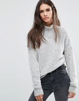 Diesel High Neck Sweater with Knit Overlay