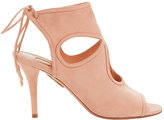 Aquazzura Sexy Thing Cut Out Pink Suede Sandals