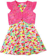 Nannette Girls 4-6x Nanette Print Scuba Dress with Lace Shrug