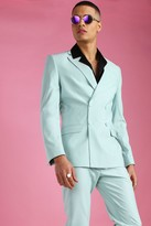 boohoo Mens Green Skinny Plain Double Breasted Suit Jacket, Green