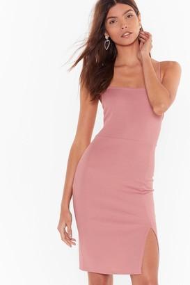 Nasty Gal Womens Square Neck Midi Dress with Square Neckline - Rose