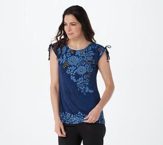 Susan Graver Printed Liquid Knit Top with Ruched Shoulder