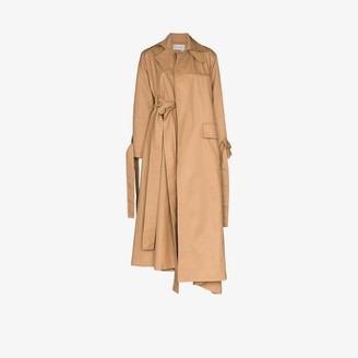 ALEKSANDRE AKHALKATSISHVILI Womens Brown Belted Draped Trench Coat