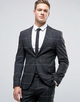 Selected Super Skinny Suit Jacket In Grid Check