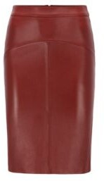 HUGO BOSS Pencil skirt in nappa leather with rear slit
