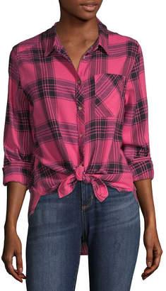 Arizona Juniors Womens Long Sleeve Regular Fit Button-Front Shirt