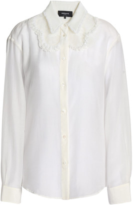 Rochas Lace-paneled Ruffle-trimmed Cotton And Silk-blend Shirt
