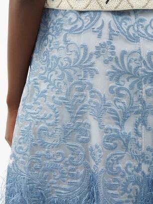 Ganni Feather-trim Brocade A-line Skirt - Mid Blue