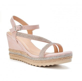 Paradox London Yoki Nude High Heel Ankle Strap Espadrilles