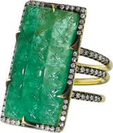 SYLVA & CIE Carved Emerald Ten Table Ring