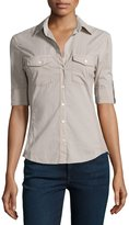 James Perse Contrast-Panel Tab-Sleeve Blouse, Shadow