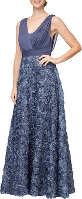 Alex Evenings Rosette Chiffon Gown